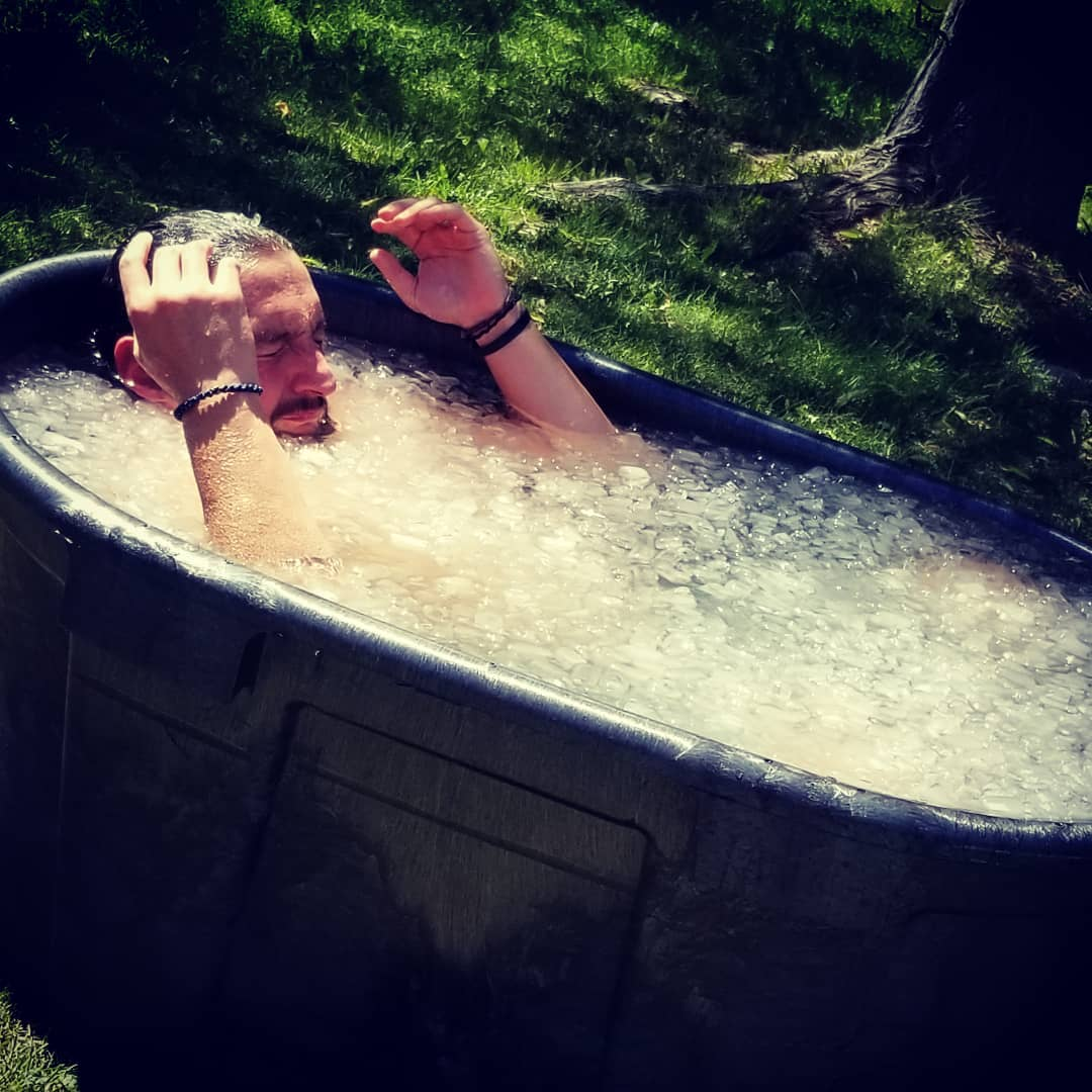 A man using an Icebath
